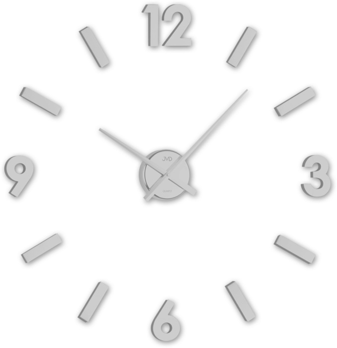 Stříbrné designové nástěnné nalepovací hodiny JVD HC20.1 (Stříbrné levné nalepovací hodiny)