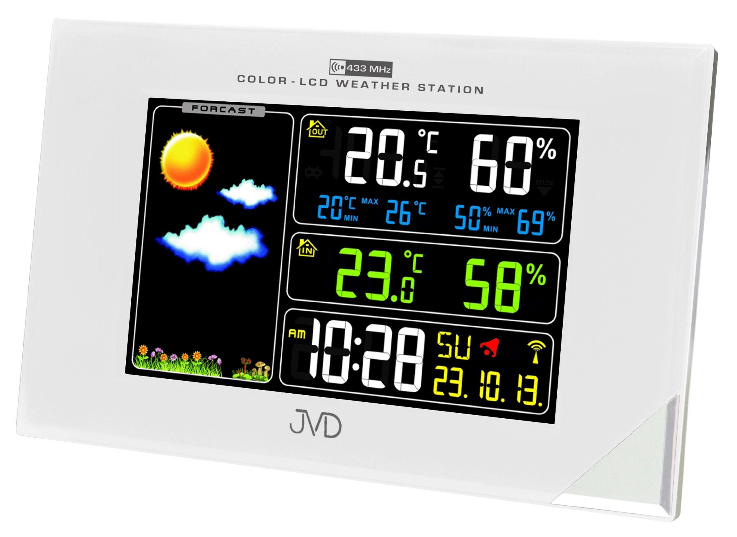 Barevná rádiem řízená meteorologická stanice JVD bílá RB9197.2