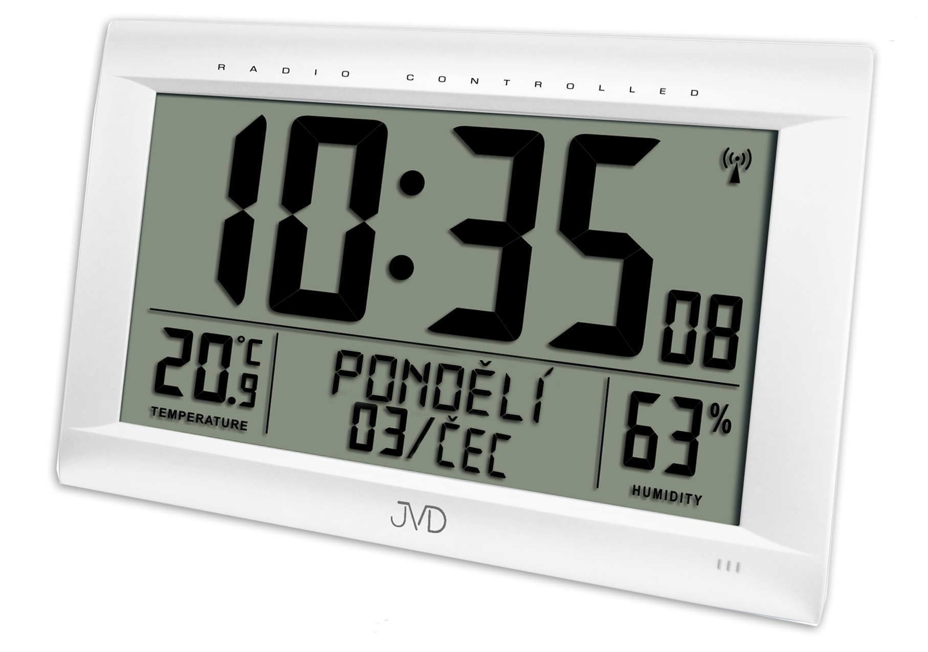 Obrovské rádiem řízené digitální hodiny s budíkem JVD stříbrné RB9075.2 (POŠTOVNÉ ZDARMA!! s češtinou!!)
