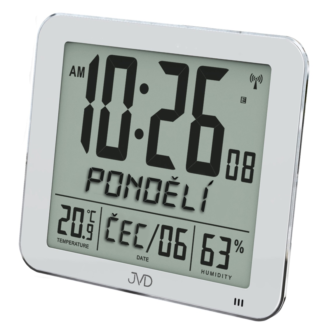 Velké rádiem řízené digitální hodiny s budíkem JVD stříbrné DH9335.1 (POŠTOVNÉ ZDARMA!! s češtinou!!)
