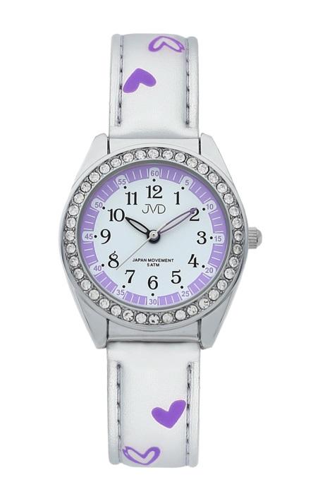 Dětské dívčí hodinky JVD basic J7117.6 se zirkony a srdíčky