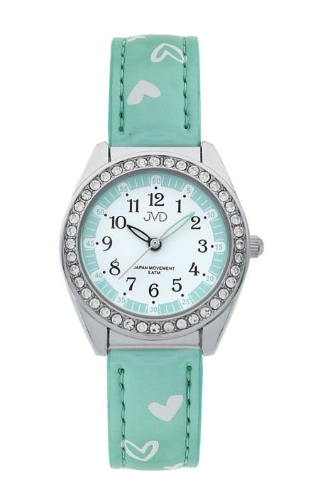 Dětské dívčí hodinky JVD basic J7117.7 se zirkony a srdíčky