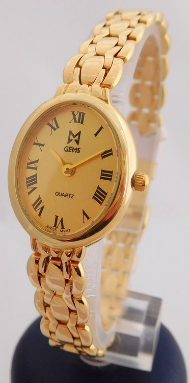 Luxusní celozlaté dámské zlaté hodinky GEMS 585/25,82gr 1440220