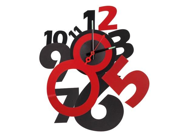 N st nn hodiny paprskovit elegantn designov erno erven modern nal - Pendule rouge design ...
