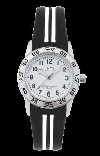 Černobílé sportovní odolné dětské chlapecké vodotěsné hodinky JVD J7187.3 -  10ATM ab2fd9efaf