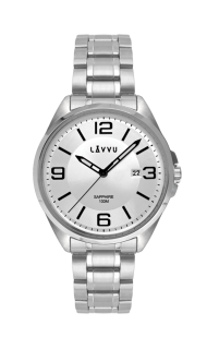 Vodotěsné pánské hodinky se safírovým sklem LAVVU HERNING Silver LWM0090 11deb53b9e