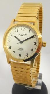 Přehledné čitelné zlaté dámské hodinky Foibos 1931.2 s pružným natahovacím  páskem 117c7930d9