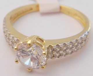 84a2b78c2 Mohutný zásnubní zlatý prsten s velkým zirkonem a dalšími zirkony 585/2,37gr  vel