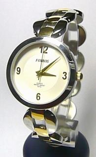 e0b874a52 Luxusní stříbrné zlaté ocelové dámské hodinky Foibos 21752 se zirkony 3ATM