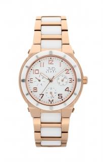 Dámský chronograf - keramické hodinky JVD steel J4131.2 s keramickou lunetou d2e1908d43