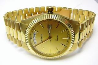 5f174f57b Luxusní elegantní pánské zlaté švýcarské hodinky 585/77,70gr GENEVE 3ATM  T153
