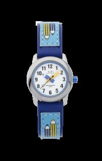 aee115011b6 Dětské modré čitelné hodinky JVD basic J7109.3 s barevnými pastelkami