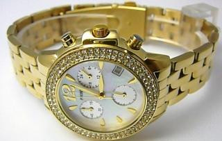Luxusní zlaté dámské chronografy poseté zirkony - hodinky Foibos 1361 5ATM 8dcb88460e0