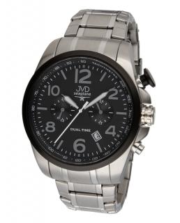 Pánské ocelové vodotěsné hodinky JVD W88.1 Seaplane Dual Time dva světové  časy 6a88cd5c14