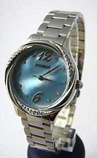 Dámské šperkové ocelové luxusní hodinky Foibos 3B72 s modrým perleťovým  čísel. 5c21e7bbcd