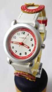 6147b7c91e8 Dívčí dětské bílo červené hodinky Foibos 2773.2 s motivem kytiček