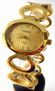 5d9c2d36cc4 Dámské šperkové zlacené hodinky s kamínky na pásku Foibos 24222