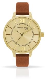 6185a4aaebd Dámské luxusní designové hodinky SUNDAY ROSE Classic GOLDEN BROWN