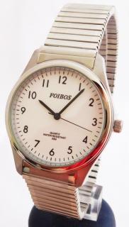 db72f279f9f Pánské stříbrné ocelové hodinky Foibos 7285.2 s natahovacím páskem