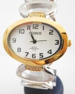 Dámské šperkové bicolor hodinky s kamínky na pásku Foibos 52421 770758f4c5
